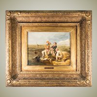 """Antique English Oil Painting, WILLIAM COLLINS (1788-1847), Royal Academy, """"Contrary Winds"""", in Frame"""