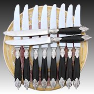 Gorgeous Vintage French 10pc Dinner Sized Knife Set, Ornate Silver & Genuine Horn Handles, Pristine Blades
