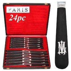 """Elegant Antique French 24pc Ebony Handled Table Knife Set, Sterling """"ML"""" Inlaid Ebony Wood Handles"""