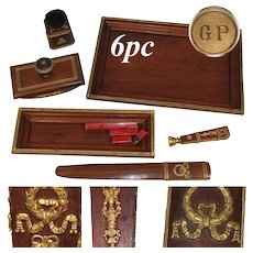 Rare Antique French 6pc Mahogany & Gilt Ormolu Writer's Desk Set, Elegant Empire Style: Wax Seal, Boar Bristle Brush +