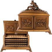 Antique Black Forest Desk Cigar Cabinet, Chest, Box, Presentation Server - not Humidor, Two Fox up Top