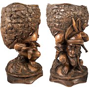 """Antique Black Forest Hand Carved Gnome open Goblet or Smoker's Caddy, Box, 8.5""""  c.1880s"""