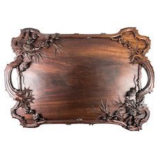 "HUGE 24"" x 16.75"" Hand Carved Vintage to Antique Wood Serving Tray, Mouse and Florals, Not Black Forest, Asia via Paris"