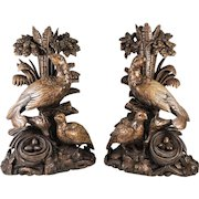 """RARE Antique Black Forest Hand Carved 15"""" Tall Pair, Epergne or Lamp Stands, Game Hens"""