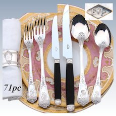Elegant Antique French PUIFORCAT Sterling Silver 71pc Flatware Set, Louis XV Style, 6pc Place Setting