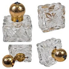 Antique French Perfume Bottle, Flask, 18k Gold & Sapphire Set Cap, Baccarat Crystal, c.1890-1920