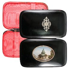 Antique French Cigar or Spectacles Case, Eglomise View of The Pantheon, Sorbonne, PARIS, c.1840-60