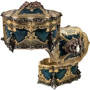 RARE Antique French c.1850s TAHAN Jewelry Casket, Box Coffret, Cameo Set, Elaborate!  Lock w Key