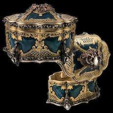 RARE Antique French c.1850s TAHAN Jewelry Casket, Box Coffret, Cameo Set, Elaborate!  Lock w Key