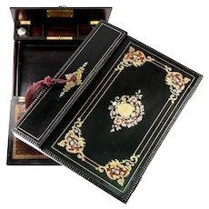 Antique French Writing Box, Chest, Charles X Era, c.1830, Boulle, Lock w Key