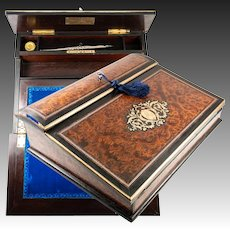Superb Antique French Writer's Chest, Slope, Box, A. GIROUX, PARIS, Napoleon III Boulle