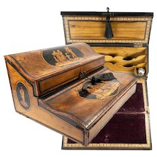 RARE Antique Sorrento Ware Marquetry Writer's Chest, Box, Slope, c.1830-40