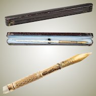 Antique French Palais Royal Carved Mother of Pearl Dip Pen in Original Box, Etui.