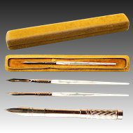 Antique French Palais Royal Carved Mother of Pearl Dip Pen in Original Silk Velvet Box, Etui.
