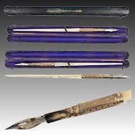Antique French Palais Royal Mother of Pearl Dip Pen in Original Leather Box, Etui. Aikin, Lambert & Co.
