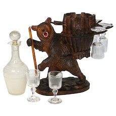 "Antique Black Forest Hiking Bear 14.5"" Tall Liqueur Tantalus, Stand with Glassware"
