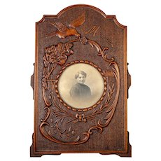 "Antique Hand Carved Black Forest Cabinet Card Photo Frame, ""Maman"", Bird & Florals, Bow"