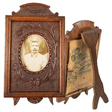 Antique Hand Carved Black Forest Carte de Visite Photo Frame, Easel Stand, c. 1850-60