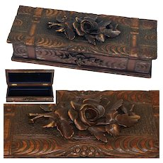 "Lovely Antique Black Forest 13"" Gloves, Desk or Jewelry Casket, Carved Box with Key"