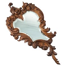 "Antique Hand Carved Black Forest or French 13.5"" Hand Mirror, Wall, Beveled, Acanthus"