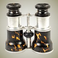 Antique Edwardian Opera Glasses Pair, Binoculars, Faux Shell Barrels and Aluminum, c.1890