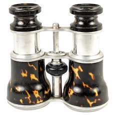 Antique Edwardian Opera Glasses Pair, Binoculars, Faux Shell Barrels and Aluminum, c.1890