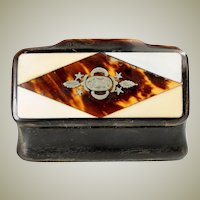 Fine Antique Victorian Era Carved Solid Horn Snuff Box, Casket with Pique Style Inlay