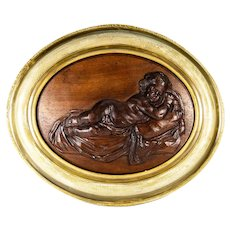 "Antique Hand Carved Plaque in French Frame, Infant or Cupid at Rest, 18.5"" x 15.5"" Oval"