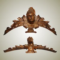 """Antique French Carved Walnut 16"""" Furniture or Architectural Cornice, Acanthus & Figural Bust"""