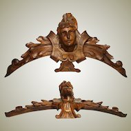 "Antique French Carved Walnut 16"" Furniture or Architectural Cornice, Acanthus & Figural Bust"
