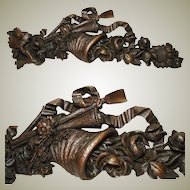 "Unique Antique Victorian Era Carved Oak 29"" Decorative Accent, Cornucopia, Flowers & Ribbon"