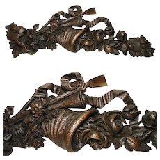 "Unique Antique Victorian Era Carved Oak 29"" Decorative Accent, Cornucopia, Flowers & Ribbon"