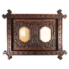 "Fabulous Large Antique Hand Carved Wood Cabinet Card Double Frame, 22"" x 17"", Black Forest"