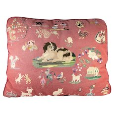 "Victorian Theme Needlepoint Pillow, 24"" x 18"" x 3-8"", King Charles Spaniel, Dog, Animals Sampler, c.1955"