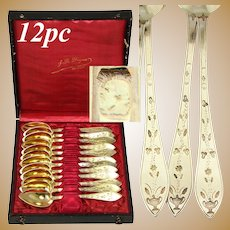 Antique French 18k Gold on Silver Vermeil 12pc Teaspoon Set, c. 1819-1838