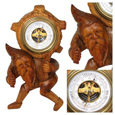 "Charming Antique Black Forest Carved 9.25"" Gnome Figure is an Aneroid Wall Barometer"