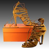 """Never Worn, HERMES Ankle Sandal Boots, 40 or US 9, Camel Suede, 3.5"""" Heel, NWT, Box, Dust Covers"""