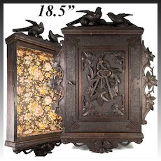 Antique Hand Carved Black Forest Key Cabinet, Chest, Birds, Lock & Key, 18.5""