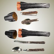 Antique Black Forest Picnic Cutlery Etui or Travel Mess Kit, Folding Knife, Spoon, & Shaped Case, Etui