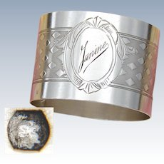 "Elegant Antique French .800 (nearly sterling) Silver Napkin Ring with ""Janine"" Engraving or Dedication"
