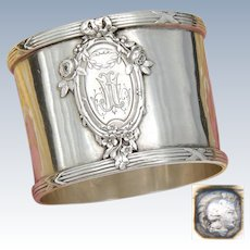"Antique French Sterling Silver Napkin Ring, Classical Style Floral Decoration, Raised Medallion, ""JM"" Monogram"