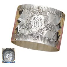 """Antique French Sterling Silver Napkin Ring, Ornate Louis XVI or Rococo Pattern, """"BC"""" Monogram"""