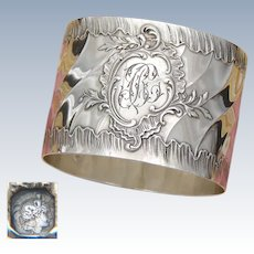 "Antique French Sterling Silver Napkin Ring, Ornate Louis XVI or Rococo Pattern, ""BC"" Monogram"