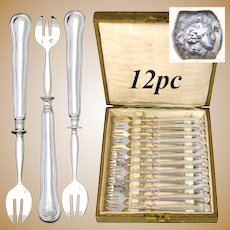 Antique French Hallmarked Silver 12pc Shellfish or Oyster Fork Set, Filet or Thread Pattern, in Box