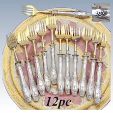 Vintage Belgian & French Hallmarked Silver & Gilt 12pc Cake, Shellfish or Oyster Fork Set