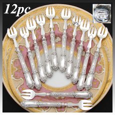 Antique French Sterling Silver Handled 12pc Oyster or Shellfish Fork Set, Floral & Foliate Pattern