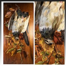 """Antique French Oil Painting on Board, Nature Still Life with 2 Birds, Artist Signed,  24"""" x 12"""""""