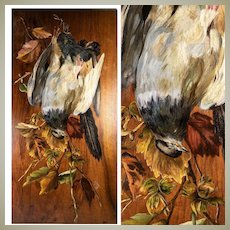 "Antique French Oil Painting on Board, Nature Still Life with 2 Birds, Artist Signed,  24"" x 12"""