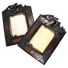 "Pair of Victorian Era French Gutta Percha Cabinet Card Frames, 2, 10.5"" Tall, Black and Brown"