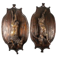 Antique Hand Carved Black Forest Fruits of Hunt Theme Plaques, Pair (2), Hare and Ibex